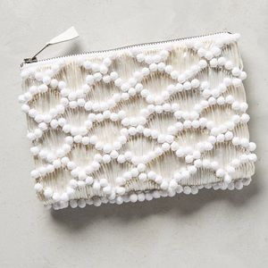 Anthropologie Cloud Cover Straw Clutch